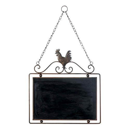 Smart Living Company Iron Rooster Chalkboard Wall Decor Country Message Board Farm, Multi Colour ()