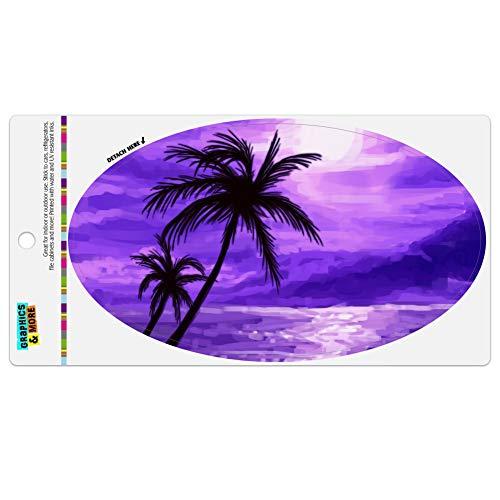 Graphics and More Purple Sunset Beach Palm Tree Hawaii Paradise Automotive Car Refrigerator Locker Vinyl Euro Oval Magnet