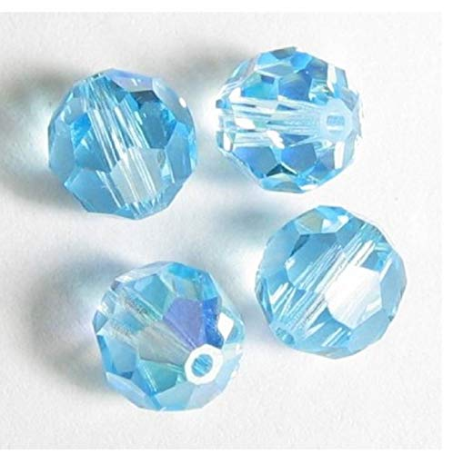 - 24pcs x Authentic 4mm Swarovski #5601 Round Crystal Beads (Aquamarine AB) #SWA-R410-AB