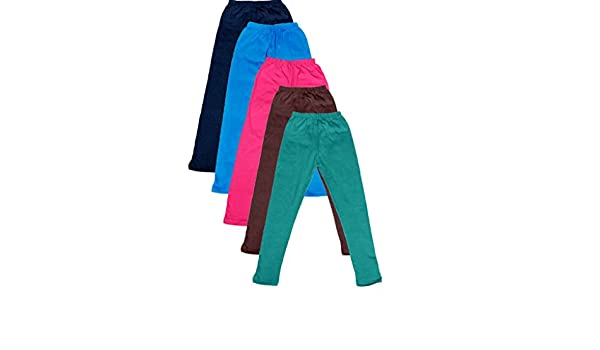 -Multiple Colors-3-5 Years Indistar Little Girls Cotton Full Ankle Length Solid Leggings Pack of 5