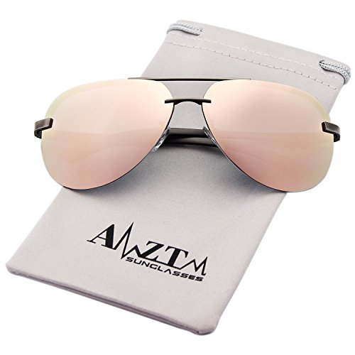 AMZTM Classic Fashion Aviator Polarized Women Sunglasses Double Bridge Metal Frame Mirrored Reflective REVO Lens 100% UV400 Protection (Grey Frame Pink Lens, - 64mm Sunglasses