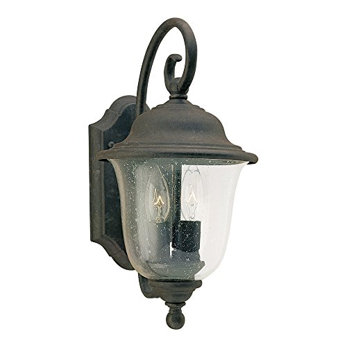 Sea Gull Lighting 8459-46 Trafalgar Two-Light Outdoor Wall Lantern with Clear Seeded Glass Shade, Oxidized Bronze Finish