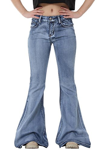 Glamour Outfitters 60s 70s Light Wash Flares Faded Bell-Bottom Flared Jeans - Blue (US8 / UK10)