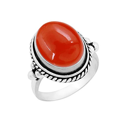 Genuine Large Oval Shape Carnelian Solitaire Ring 925 Silver Plated Vintage Style Handmade for Women Girls (Size-5)