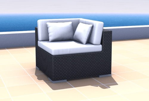 Resin Wicker Outdoor Furniture Sectional Corner Sofa ESPACE, black