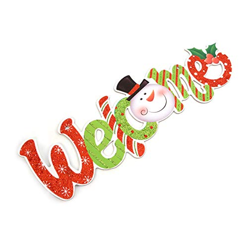 BG Christmas and Holiday Festive Glitter Snowman Green and Red Happy Holidays Sign Home Décor