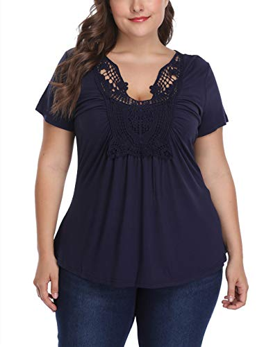 Women's Plus Size Deep V Neck Top Blouse Ruched Front Pleated Summer Tunic Shirt Tee XL-4XL Blue