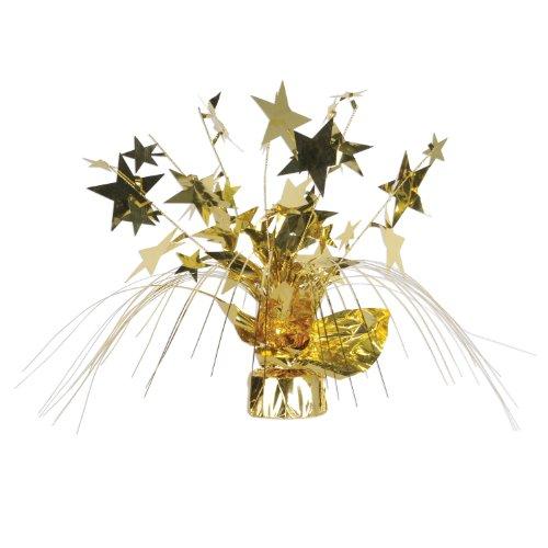 Beistle 1-Pack Star Gleam N Spray Centerpiece, 11-Inch, - Centerpiece Gold Spray
