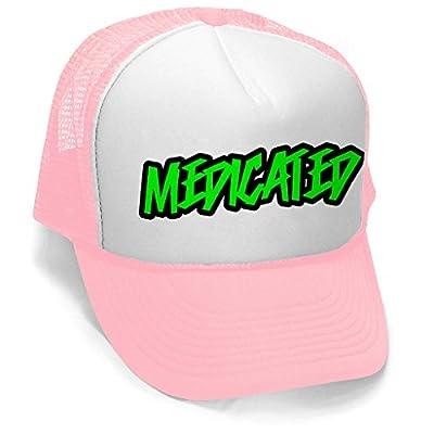Men's Green Graffiti Medicated Hat PLY B1099 Pink/White Trucker Hat One Size