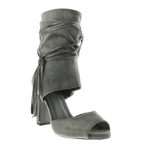 Angkorly - Zapatillas de Moda Botines Sandalias Peep-Toe abierto sexy mujer tanga fleco Talón Tacón ancho alto 9 CM - Gris