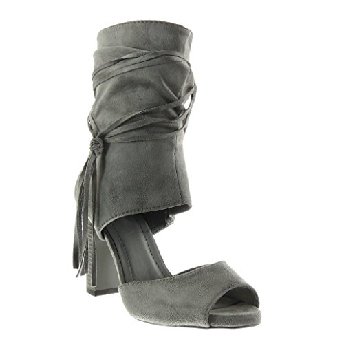 Angkorly Talón cm Gris Abierto Mujer Alto Toe Peep Ancho Zapatillas Sandalias Moda Fleco Sexy 9 Tacón Tanga Botines PxnYwPqrTa