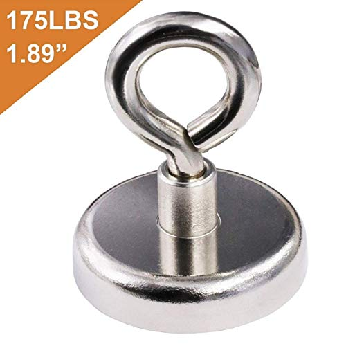 Super Strong Neodymium Fishing Magnets, 175 lbs(80 KG) Pulling Force Rare Earth Magnet with Eyebolt Diameter 1.89 inch(48 mm) for Retrieving in River and Magnetic Fishing