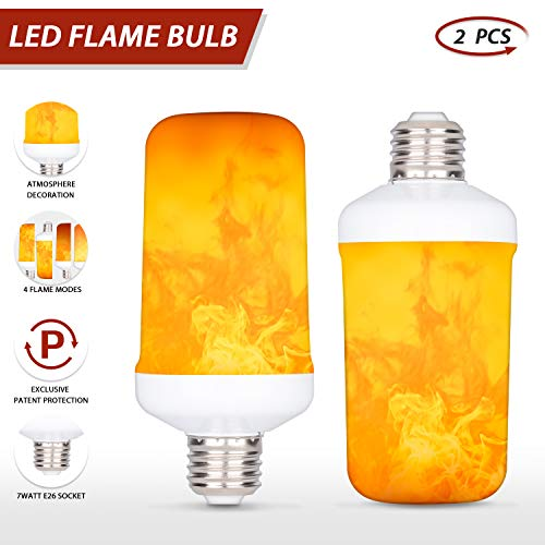 LED Flame Effect Light Bulb,E26 E27 7W 4 Modes with Gravity Induced Decorative Light Fire Flickering Atmosphere Lighting Vintage Flaming Lamp for Holiday Hotel/Bar/Party/Home(2 Packs)