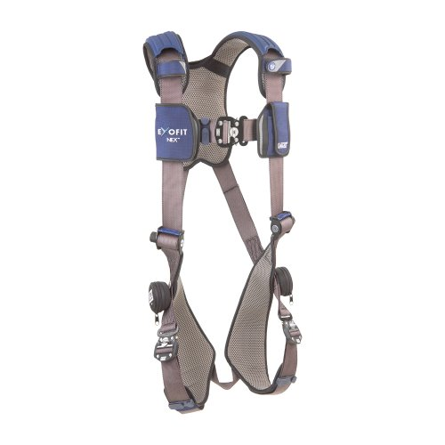 (3M DBI-SALA ExoFit NEX 1113004 Vest Style Harness, Aluminum Back D-Ring, Locking Quick Connect Buckles, Medium, Blue/Gray)