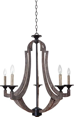 """Craftmade 35125-WP Winton Candle Chandelier Lighting, 5-Light, 300 Watts, Weathered Pine (30""""W x 31""""H)"""