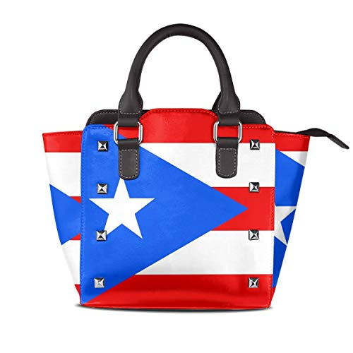 Women's Genuine Leather Rivet Tote Handbag Puerto Rico Flag Top Studded Ladies Purse Bag With Adjustable Strap For Ladies