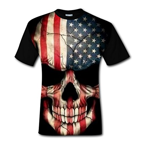 Freddy Mask For Sale (American Flag Skull Mask Men's Printed T-shirts Short Sleeve Crew Neck Tees L)