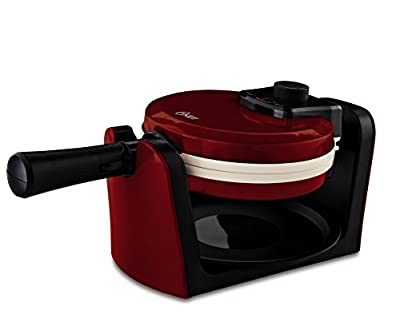 Oster CKSTWFBF10MR-ECO DuraCeramic Flip Waffle Maker, Candy Apple Red by Jarden Consumer Solutions