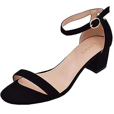 Lovirs Womens Open Toe Ankle Strap Buckle Chunky Heel Black Sandals Dress Shoes 5 M US