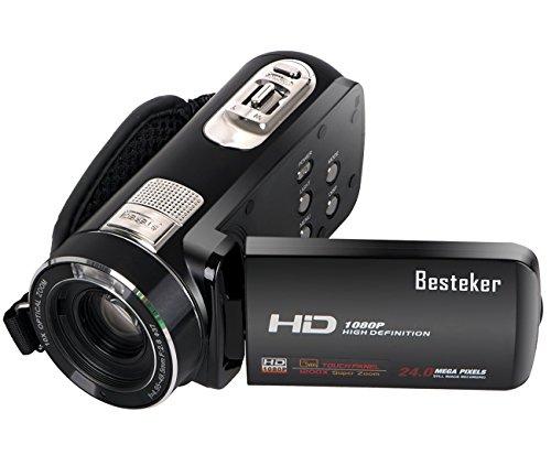 1080P Camcorder, Besteker Protable FHD Max 24,0 Megapixeln 10fach optisches Zoom-Videokamera DV 3.0 Zoll Touchscreen-Fernbedienung Camcorder + Sicherheit Tether für Amateure und Kinder