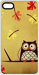 Confused Looking Owl With Falling Leaves White Plastic Case for Apple iPhone 4 or iPhone 4s