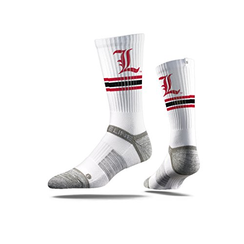 Strideline NCAA Louisville Cardinals Premium Athletic Crew Socks, White, One Size
