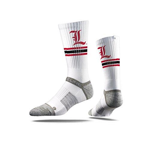 Pie Cardinal - Strideline NCAA Louisville Cardinals Premium Athletic Crew Socks, White, One Size