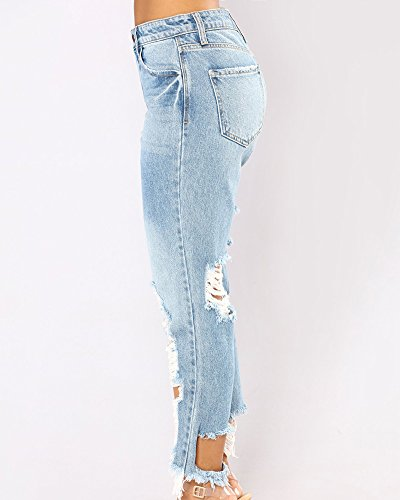 Vita Leggings Fori AnyuA Jeans Pantaloni Bassa Con Vento Donna del Blu Lacerazione wpYHxq7F