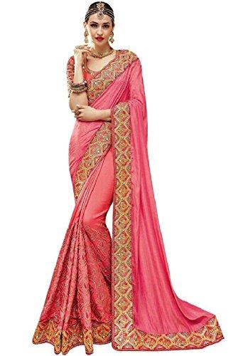 Magneitta Women's Ethnic Wedding And Party Wear Heavy Handwork Designer Sari Free Size (Pink Saree)
