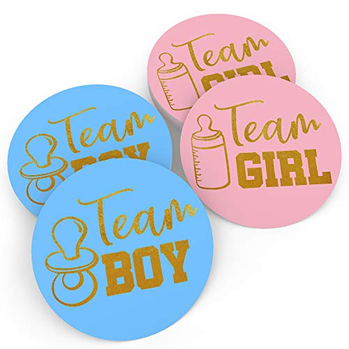 Baby Nest Designs - Gender Reveal Stickers Games Team Boy & Team Girl (80 Pieces) - Perfect Gender Reveal Party Supplies - Gold Foil Stamping - Hand-Drawn Art in the USA - Easy Peel-Off -