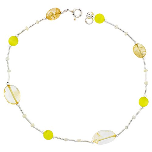 Sterling Silver Anklet Natural Citrine Stones Lemon Catseye & Glass Seed Beads, adjustable 9 - 10 inch