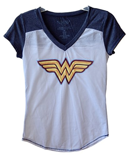 Wonder+Woman+Shirts Products : DC Comics Wonder Woman Distressed Logo Juniors V-neck T-shirt