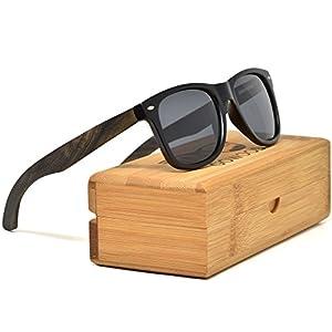 Ebony Wood Wayfarer Sunglasses For Men & Women with Polarized Lenses