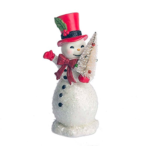 Midwest-CBK Christmas Snowman with Bottle Brush Tree Figurine, 9 inch