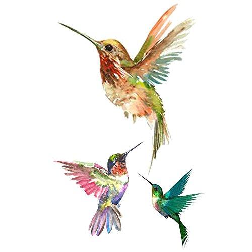 WYUEN 5 PCS Hummingbirds Women Body Temporary Tattoos Kids Fake Tattoo Stickers Children Body Art 9.8X6cm -