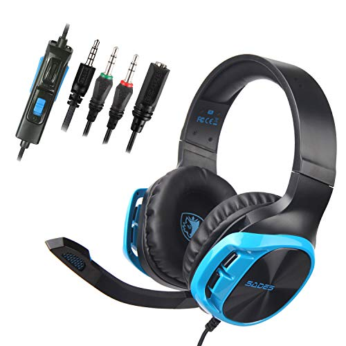 Sades R17 Stereo Gaming Headset for Xbox One PS4 PC, Surround Sound Over-Ear Headphones with Anti-Noise Mic,Volume Control for Laptop, Mac,Smartphone,Games -Black Blue.