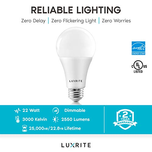 Luxrite A21 LED Bulbs 150 Watt Equivalent, 2550 Lumens, 3000K Warm White, Enclosed Fixture Rated, Dimmable Standard LED Bulb 22W, Energy Star, E26 Medium Base - Indoor and Outdoor (2 Pack)