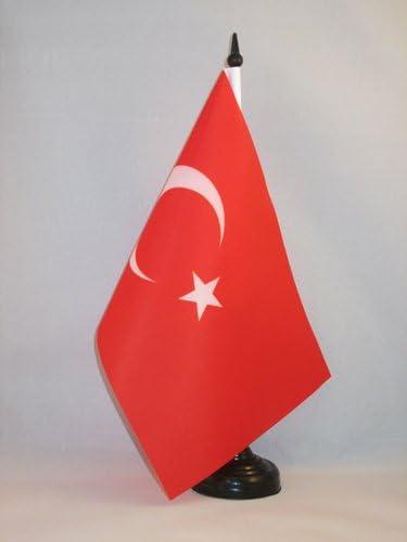 TURKISH DESK FLAG 21 x 14 cm TURKEY TABLE FLAG 5/'/' x 8/'/' Black plastic stick