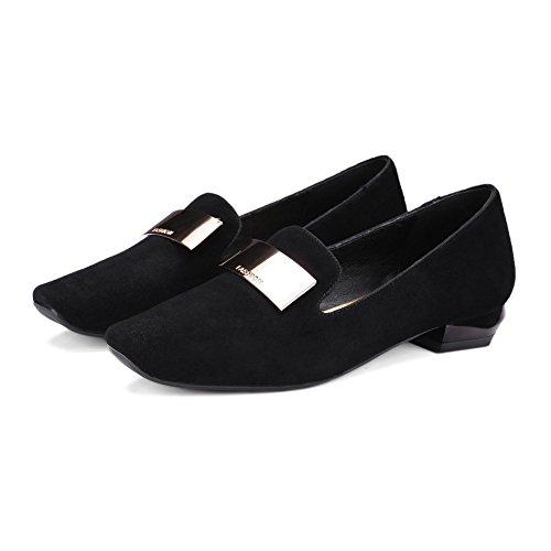 Primavera de tacón cuadrado moda coreana/Señora zapatos cómodos A