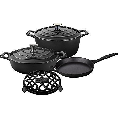 6 Piece Enameled Cookware Set (La Cuisine LC 2840MB 6 Piece Pro Enameled Cast Iron Round Casserole/Trivet Cookware Set, Slate Black)
