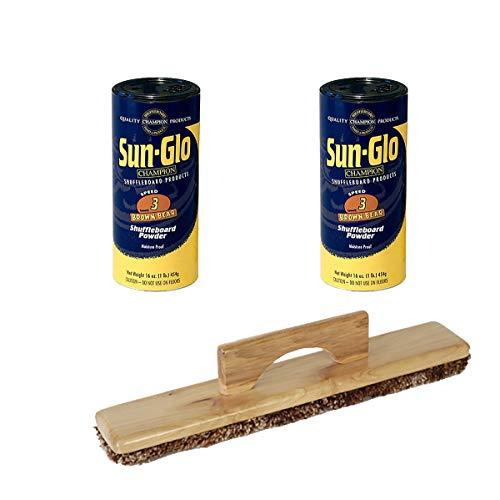 Twin Pack of Sun-Glo #3 Speed Shuffleboard Powder Wax Bundled with a Sun-Glo Shuffleboard Sweep