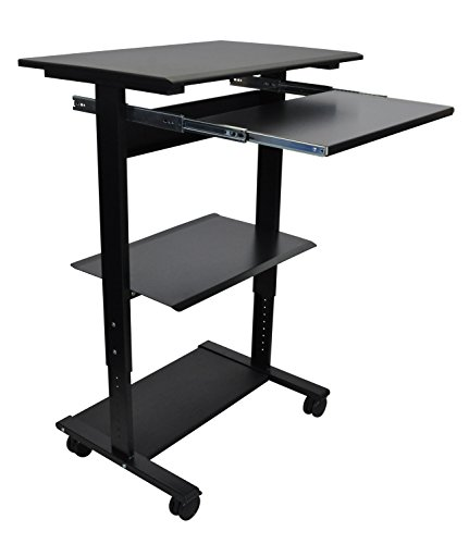 Mobile Adjustable Height Stand Up Workstation (Black & Black) from Stand Up Desk Store