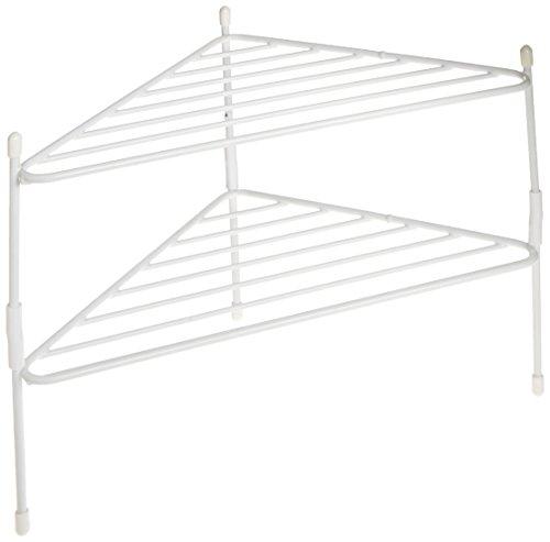 (Panacea Grayline 40185 Stackable Corner Shelves, White, Set of 2 )