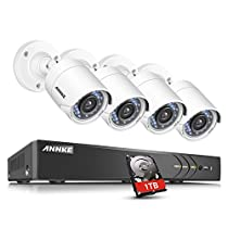 ANNKE Security Camera System 8-channel 1080P HD-TVI H.264+ Realtime DVR and (4) 2.0MP High-Resolution Outdoor Security Cameras with Motion-Triggered Email Alert ,1TB Surveillance Hard Disk Drive