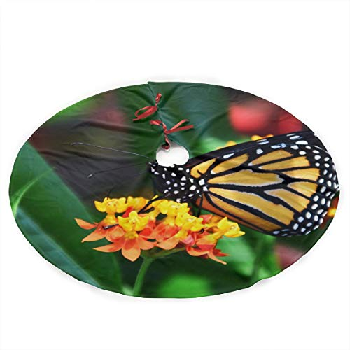 YANGGE Christmas Tree Skirt Beautiful Monarch Butterfly Xmas Ornament,Holiday New Year Party Decoration
