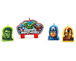 American Greetings Marvel Avengers Birthday Candles, 4 Count, Party Supplies