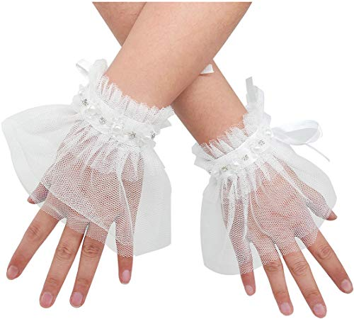 L'VOW Women's Gothic Lace Mesh Stretch Wrist Cuffs Bracelets For Wedding Party Pack of 2 (Y01-White)