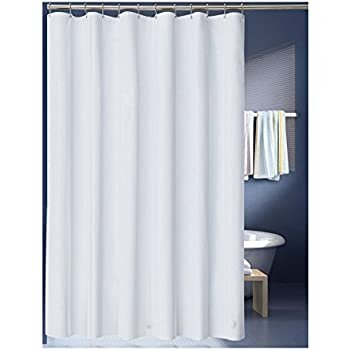 LanMeng Solid White Fabric Shower Curtain Liner, Extra Long, Mildew Free  Water Repellent (72 By 78 Inch, White (fabric))