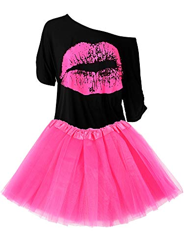 Women's 80s Pink Skirt with Lips Print Top