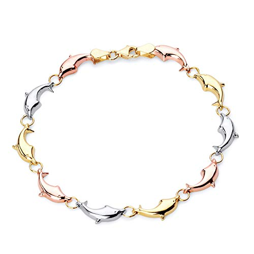 Wellingsale 14k Tri 3 Color Gold Polished Stampato Dolphin Bracelet with Lobster Claw Clasp - 7.25""